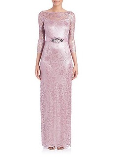 Teri Jon by Rickie Freeman Belted Lace Gown