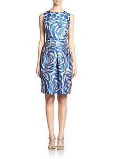 Teri Jon by Rickie Freeman Contrast Floral-Print Dress
