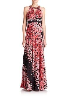 Teri Jon by Rickie Freeman Embellished Halter Floral-Print Gown