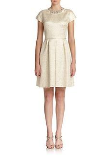 Teri Jon by Rickie Freeman Flared Jacquard Dress
