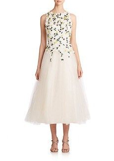 Teri Jon by Rickie Freeman Floral-Embroidered Tulle Dress