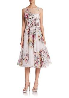 Teri Jon by Rickie Freeman Floral Illusion Gown