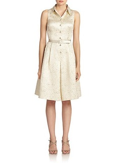 Teri Jon by Rickie Freeman Jacquard Belted Shirtdress