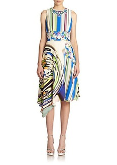 Teri Jon by Rickie Freeman Jeweled-Neck Print Dress