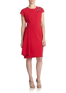 Teri Jon by Rickie Freeman Jeweled-Shoulder Crepe Dress