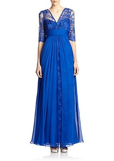 Teri Jon by Rickie Freeman Lace & Silk Chiffon Gown