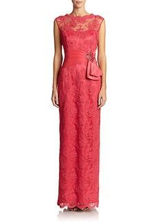 Teri Jon by Rickie Freeman Lace Column Gown
