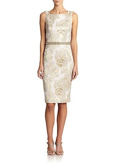 Teri Jon by Rickie Freeman Metallic Jacquard Sheath