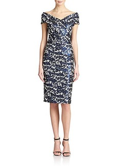 Teri Jon by Rickie Freeman Off-Shoulder Printed Sheath Dress
