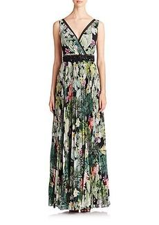 Teri Jon by Rickie Freeman Pleated Floral Gown