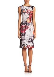 Teri Jon by Rickie Freeman Printed Scuba Sheath Dress