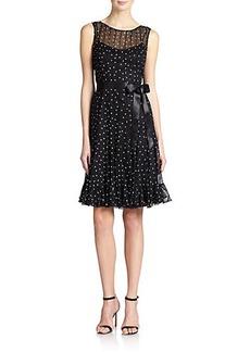 Teri Jon by Rickie Freeman Silk Chiffon Pintucked Dot Dress