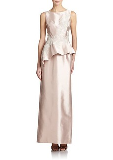 Teri Jon by Rickie Freeman Silk Satin Peplum Gown
