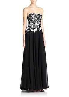 Teri Jon by Rickie Freeman Strapless Embellished Lace & Chiffon Gown