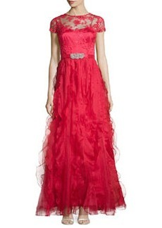 Teri Jon Cap-Sleeve Gown W/ Ruffled Skirt, Red
