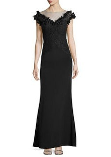 Teri Jon Cap-Sleeve Lace-Yoke Gown, Black