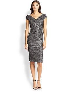Teri Jon Crossover Jacquard Dress