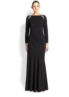 Teri Jon by Rickie Freeman Embellished Matte-Jersey Gown
