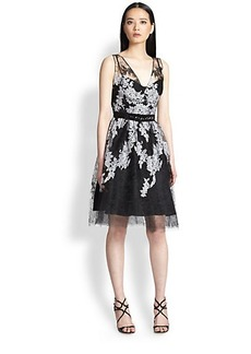 Teri Jon Embroidered Tulle Dress