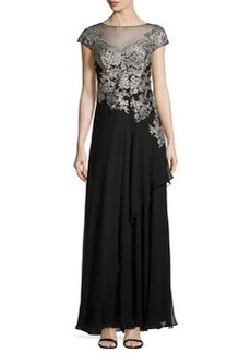 Teri Jon Embroidered Tulle Gown, Black/Silver