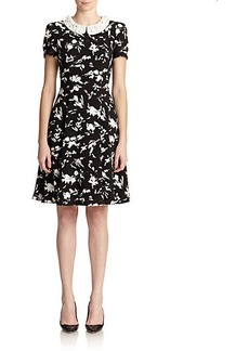 Teri Jon Floral Beaded Collar Dress