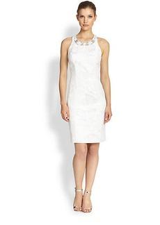 Teri Jon Floral-Embroidered Jacquard Dress
