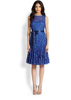 Teri Jon Floral-Lace Pintucked Dress