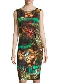 Teri Jon Floral-Print Sleeveless Cocktail Dress, Brown/Multi