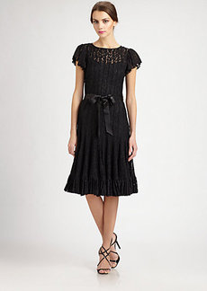 Teri Jon Flutter-Sleeve Lace Dress