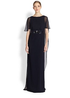 Teri Jon Gathered Chiffon Cocoon Gown