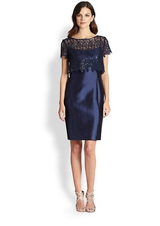 Teri Jon Gazar Lace Popover Dress