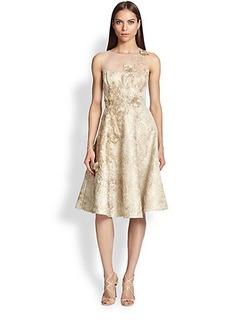 Teri Jon Illusion-Neck Jacquard Dress