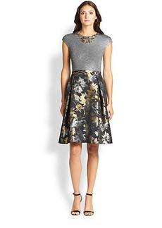 Teri Jon Jersey & Jacquard Necklace Dress
