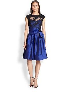 Teri Jon Lace & Taffeta Dress