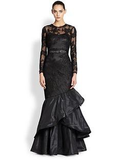 Teri Jon Lace & Taffeta Mermaid Gown