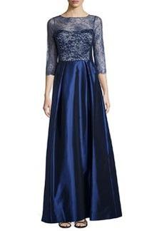 Teri Jon Lace and Taffeta 3/4-Sleeve Gown, Sapphire