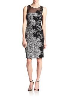 Teri Jon Lace-Appliqué Tweed Dress