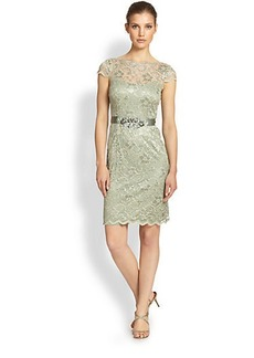 Teri Jon Lace Beaded-Waist Dress