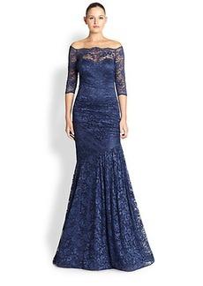 Teri Jon Lace Off-Shoulder Gown