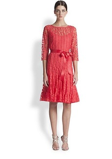 Teri Jon Lace Pintuck Dress