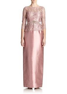 Teri Jon by Rickie Freeman Lace-Top Belted Gown