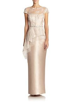 Teri Jon Lace-Top Peplum Gown