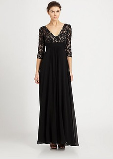 Teri Jon Lace-Top Silk Chiffon Gown