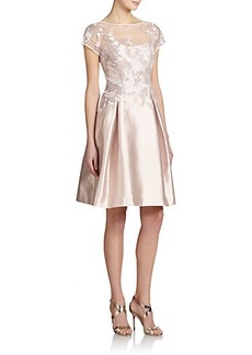 Teri Jon by Rickie Freeman Lace-Topped Silk/Cotton Satin Dress