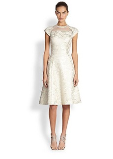 Teri Jon Mesh and Brocade Cocktail Dress