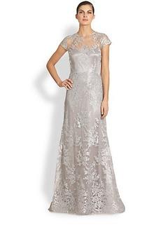 Teri Jon Metallic Embroidered-Lace Gown