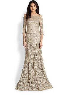 Teri Jon Metallic-Lace Off-The-Shoulder Gown