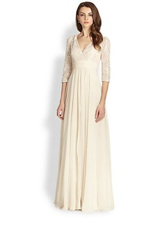 Teri Jon Metallic Lace-Top Gown