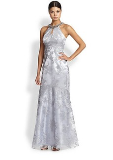 Teri Jon Necklace-Halter Metallic-Lace Gown