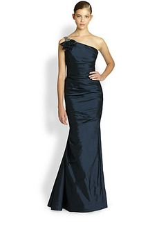 Teri Jon One-Shoulder Taffeta Gown